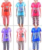 72 Units of Women's Short Sleeve Shirt & Capri Pajama Set - Assorted Prints - Sizes Small-XL - Ladies Lingerie / Sleep Wear