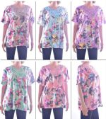 72 Units of Women's Fashion Blouses with/ Flower Adornment Neckline - Floral Prints - Sizes Medium-Large or XL-XXL - Womens Fashion Tops