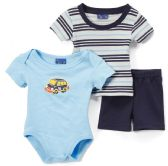24 Units of Newborn Boy's Shorts, T-Shirt & Onesie Set - Car Prints - Sizes 3-12M - Newborn Boys Apparel