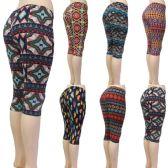 36 Units of Women's Capri Leggings - Aztec & Geometric Prints - One Size Fits Most - Womens Leggings