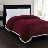 4 Units of Corduroy Sherpa Blanket in Burgandy Queen Size - Fleece & Sherpa Blankets