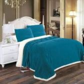 4 Units of Corduroy Sherpa Blanket In Teal Queen Size - Fleece & Sherpa Blankets