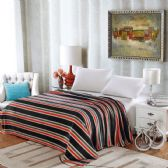 12 Units of Lauren Geometric Microplush Blankets Throw Size In Black Stripe - Micro Plush Blankets