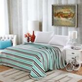 12 Units of Lauren Geometric Microplush Blankets Twin Size In Aqua Stripe - Micro Plush Blankets