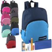 24 Units of Preassembled 15 Inch Backpack & 7 Piece School Supply Kit - 8 Colors - School Supply Kits