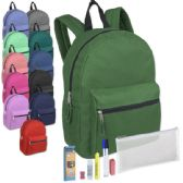 24 Units of Preassembled 15 Inch Backpack & 7 Piece School Supply Kit - 12 Colors - School Supply Kits