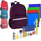 12 Units of Preassembled 19 Inch Backpack & 18 Piece School Supply Kit - Girls Colors - School Supply Kits