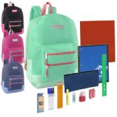 12 Units of Preassembled 18 Inch Double Zip Backpack & 12 Piece School Supply Kit - Girls Colors - School Supply Kits