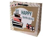 144 Units of Large Happy Birthday Cake Gift Bag - Gift Bags Everyday