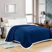 4 Units of Elite Sherpa Blanket Queen Size In Navy - Micro Mink Sherpa Blankets