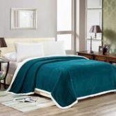 4 Units of Elite Sherpa Blanket Queen Size In Teal - Micro Mink Sherpa Blankets