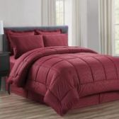 3 Units of 8 Pieces Embossed Vine Comforter Set Queen Size In Burgandy - Bedding Sets