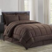 3 Units of 8 Pieces Embossed Vine Comforter Set Queen Size In Chocolate - Bedding Sets