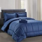 3 Units of 8 Pieces Embossed Vine Comforter Set Queen Size In Navy - Bedding Sets