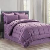 3 Units of 8 Pieces Embossed Vine Comforter Set King Size In Plum - Bedding Sets