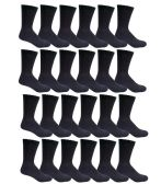 240 Units of Womens Black Crew Socks Size 9-11 Cotton Blend - Womens Crew Sock