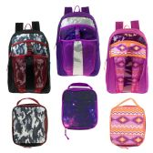 "24 Units of 17"" Wholesale Premium Backpacks with Lunch Box in 3 Assorted Prints - Backpacks 17"""