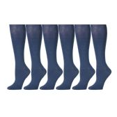 6 Pairs of Girls Knee High Socks, Cotton, Flat Knit, School Socks (9 -11, Denim) - Womens Knee Highs