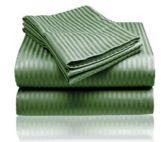 12 Units of Embossed Stripe Sheet Set King Size In Dark Green - Sheet Sets
