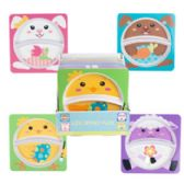 24 Units of Melamine Kids Square Easter Divided Plate - Plastic Bowls and Plates