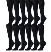 12 Pairs of Girls Knee High Socks, Cotton, Flat Knit, School Socks (6 - 7.5 ,Navy) - Womens Knee Highs