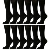 12 Pairs of Girls Knee High Socks, Cotton, Flat Knit, School Socks (7 - 8.5,Black) - Womens Knee Highs