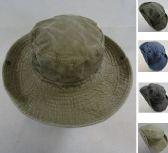 24 Units of Washed Floppy Boonie Hat [Solid] - Cowboy, Boonie Hat
