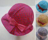 60 Units of Toddler Girl's Bucket Hat Polka Dot and Bow - Kids Baseball Caps