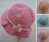 60 Units of Toddler Girl's Bucket Hat Mini Floral Print with Satin Flower - Kids Baseball Caps