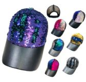 24 Units of Reversible Sequin Mesh Baseball Hat Leathery Bill - Baseball Caps/Snap Backs