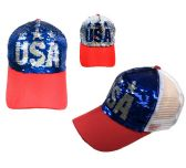 24 Units of Reversible Sequin Mesh Baseball Cap USA - Baseball Caps/Snap Backs