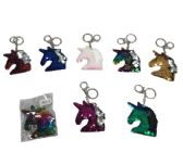 96 Units of Reversible Sequin Key Chain Unicorn Head - Key Chains