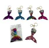 96 Units of Reversible Sequin Key Chain Mermaid Tail - Key Chains