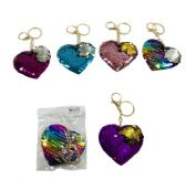 96 Units of Reversible Sequin Key Chain Heart - Key Chains