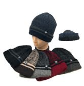 36 Units of Plush Lined Knit Toboggan Variegated Top Striped Fold - Winter Beanie Hats