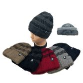 36 Units of Plush Lined Knit Toboggan Striped Top Solid Fold - Winter Beanie Hats