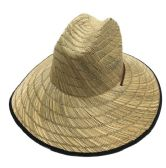 36 Units of Large Brim Straw Hat with Black Edge Small Weave - Sun Hats