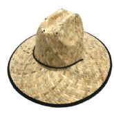 24 Units of Large Brim Straw Hat with Black Edge Large Weave - Sun Hats