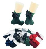 48 Units of Ladies Fashion Socks Sparkle Edge with Bow - Womens Ankle Sock