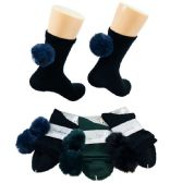 48 Units of Ladies Fashion Socks [Poms Poms] - Womens Ankle Sock