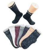 48 Units of Ladies Fashion Socks Pearls & Beads Sparkle - Womens Knee Highs