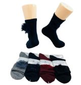 48 Units of Ladies Fashion Socks Fur Ball - Womens Knee Highs