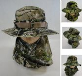 24 Units of Floppy Boonie Hat Hardwood Camo Snap Up Face & Neck Cover - Cowboy, Boonie Hat