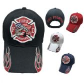 36 Units of Firefighter Maltese Cross/Fire Truck Hat Flames on Bill - Baseball Caps/Snap Backs