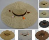 24 Units of Ladies Woven Fashion Hat Dangling PomPoms - Sun Hats