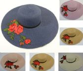 24 Units of Ladies Woven Fashion Hat Applique Roses - Sun Hats
