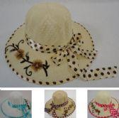 36 Units of Ladies Sun Hat Polka Dot Bow Applique Flowers - Sun Hats