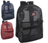 24 Units of Trailmaker 17 inch Mesh Backpack - 3 colors - Backpacks 17""