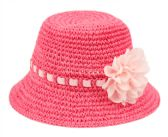 24 Units of KIDS PAPER STRAW BUCKET HATS WITH RIBBON BAND AND FLOWER - Kids Baseball Caps