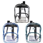 "36 Units of 16"" Wholesale Clear Backpack in 3 Assorted Trim Colors - Backpacks 16"""